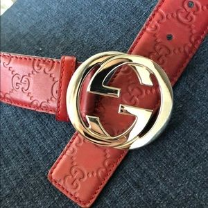 Gucci Embossed Red Leather Belt